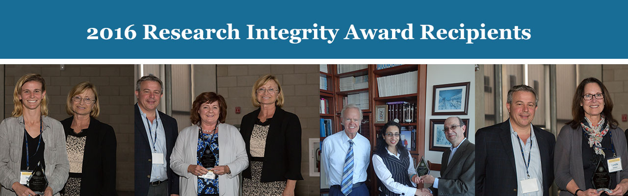 2016 Research Integrity Award Recipients